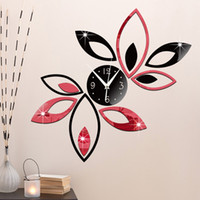 Wholesale New Silver Black Red Creative Rhombus Leaves Leaf Wall Clock Mirror antique Modern Removable DIY Acrylic D Wall Decal Clocks