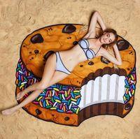 Wholesale 11 Designs Round Beach Towel Pizza Hamburger Skull Ice Cream Strawberry Smiley Emoji Pineapple Watermelon Shower Towel Blanket