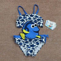 Wholesale 1 T Baby girls Cartoon Design One Piece Kids Blue Swimsuit Uv Sun Protection UPF Ruffled Lace beach wear bathing suit for children
