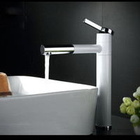 Wholesale Countertop White Painting Brass Bathroom Basin Faucet Vessel Sinks Mixer Vanity Tap Long Swivel Spout Deck Mounted NEW Cheap