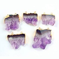 amethyst pendant gold - musiling Jewelry Natural Gem Stone Pendant Pendulum Amethyst Crystal Geode Druzy Magic Stone Charms Fashion Mens Jewelry