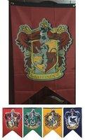 Wholesale Fedex DHL Free cm Harry Potter Gryffindor Hufflepuff Slytherin Ravenclaw Flag Hogwarts College Flag Home Decor Polyester Banner B1103