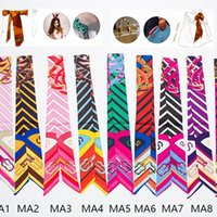 Wholesale 106 Styles Multifunction Small Silk Scarf For Bag Handle Fashion Hair Band Ribbon Women Headscarf Silk Scarves Wrap Twilly PPA641