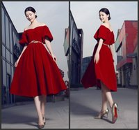 beautiful tea length dresses - Customize Party Wear Tea Length Short Prom Off Shoulder Neck Zipper Back Half Sleeve Elegant Dresses High Quality Beautiful Hot Sale