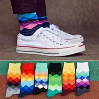 basketball socks lot - Happy Socks Fashion British Style Basketball Socks Streetwear Socks Plaid Socks Gradient Color Cotton Stocking pairs OOA985 pair