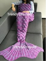 Wholesale 2017 TrendyDressed Crochet Fish Scales Design Mermaid Tail Blanket Handmade Crochet Cozy Soft Living Room Sleeping Bag For Kids Adult Teen