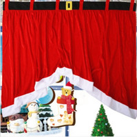best curtain rods - x92x77cm Cotton Panel Christmas Festival Red Window Curtain Door Drape Home Decoration Your Best Choice