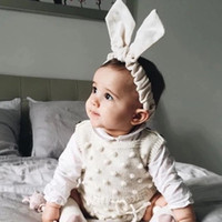 Wholesale 2017spring Overalls infant baby girl rompers knitted sleeveless jumpsuits toddler girls clothing pure cotton