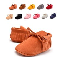 baby crib colors - Unisex Lace up Shoe Tassel Toddlers Baby Moccasin Soft Crib Shoes Colors Prewalker Shoe First Walkers Non slip Footwear