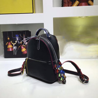 Wholesale Design genuine leather double belt backpack with diamond tail cm