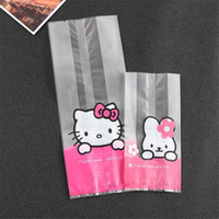 50Pcs Hello Kitty Máquina sellado de alimentos Biscuit Envelope West Point rosa pastel de pop bolsas de regalo de la galleta de embalaje plana Opp bolsa de plástico