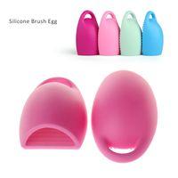 Wholesale New Brushegg Cleaning Glove MakeUp Washing Brush Scrubber Board Cosmetic Brushegg Cosmetic Brush Egg colors
