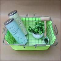 Wholesale metal wire basket for Jewelry store chrome coated bastket for Cosmetics store with sacking Wire Mesh Basket With Metal Handles N W kg