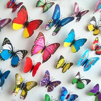 Wholesale 12pcs D Butterfly Wall sticker Living Roon Wedding Room Bedroom Decorations Butterflies Wall Paster Stickers Children