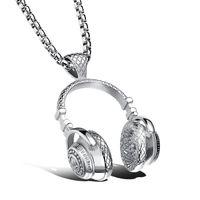 Wholesale 2017 titanium steel alloy fashion music earplugs headphones pendant necklace
