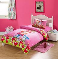 american girl quilt - 3d bedding set cartoon kids Princess Strawberry girl Minnie sets Frozen quilt cover sheet pillowcase set cotton single twin size children