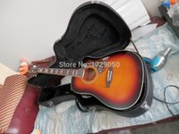 Wholesale highest quality New style in Cherry burst hummingbird Acoustic Guitar with case Real photos