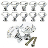 Wholesale 30mm Clear Crystal Glass Knob Shiny Polished Chrome Marrywindix Drawer Cabinet Pull Handle Knob For Home Kitchen Drawer E