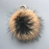 Wholesale 6 quot cm Large Fluffy Genuine Real Raccoon Fur Ball Fur Pom Pom Bag Charm Keychain Car Key Finder Pendant