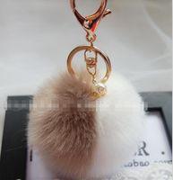 balls hits - 2016 New Lovely Hit Color Keychain Fur Pom Pom Keychain Car Bag Charm Fur Ball Key Chain Women Key Holder Ring Keychains