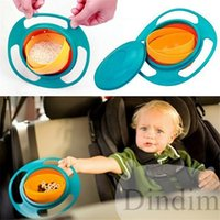 Wholesale 2016 Hot Sale Creative Gyroscope Baby Bowl Non Spill Feeding Toddler Gyro Cereal Bowl Rotating Kids Avoid Food Spilling