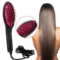 Wholesale Electric Digital Ceramic Hair Straightener Brush Fast Hair Styling Tool With LCD Screen Auto Shut Off US EU UK AU with Retail Box