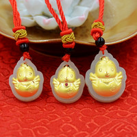 Wholesale Year of rooster Cute Hatched chicks Boutique material Hetian white jade D thick K gold necklace Charms sizes gift for couple lover