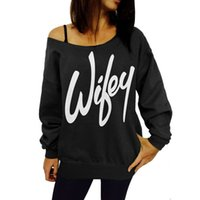 Wholesale Fashion Women Ladies Print Wifey Casual Long Sleeve Crewneck Loose Sexy T Shirt Tops