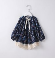 Wholesale Everweekend Girls Floral Print Lace Tees Spring Sweet Baby Ruffles Cotton Blouse Cute Children Tops