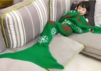 Wholesale New style Children snow mermaid blanket Blanket wool knitting blanket fish tail Christmas gift A birthday present