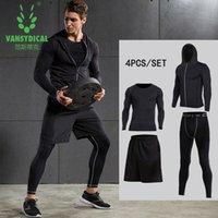 Precio de Capas base-Vansydical New Mens Compression Shirts Pantalones Gimnasio para la Fitness Correr Correas Pieles Capas Base de baloncesto Juegos de compresión