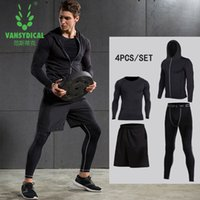 Wholesale Vansydical New Mens Compression Shirts Pants Sets Gym for Fitness Running Tights Skins Base Layers Basketball Compression Sets