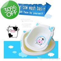 Wholesale cute cow cartoon baby washbasin thicker trumpet baby home Footbath basin wash tub pink one size