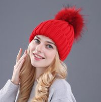 Wholesale mink and fox fur ball cap pom poms winter hat for women girl s hat knitted beanies cap brand new thick female cap