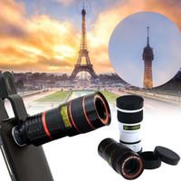 al por mayor clips ópticas-Lente de cámara del telescopio óptico de la lupa del aumento al por mayor-8X con el clip para el teléfono móvil lente micro del teléfono móvil móvil Lente focal larga