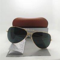 Wholesale AAA quality Glass lens Fashion Men and Women Pilot Sunglasses UV400 Brand Designer Vintage Sport Sun glasses With Brown box