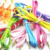 Wholesale High Quality mm Colorful Noodle Audio Aux Cable Male To Male Aux pure copper Line For MP3 MP4 Computer Phone Universal Plug Cable