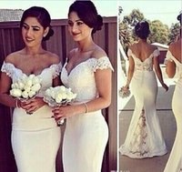 Wholesale 2016 Elegant Long Formal Dress for Women Lace Off Shoulder Mermaid Sweep Train Corset Bridesmaid Dresses Covered Button Back Sweep Train