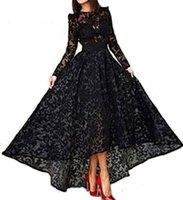 Wholesale Robes De Soiree Arabic Elegant A Line Evening Dresses Black Long Sleeve Lace Evening dress Prom Party Gowns dubai