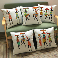 african culture women - 9 Styles Colour Painting African Woman Dancing Cushion Covers Africa Costume Culture Art Pillow Cover Decorative Linen Beige Pillow Case