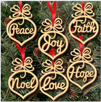 wood letters - Christmas letter wood Heart Bubble pattern Ornament Christmas Tree Decorations Home Festival Ornaments Hanging Gift pc per bag