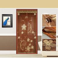 Wholesale FUYA New Top Quality Hands Free Brown Magnetic Door Screen Mosquito Net Magnetic Sheer Curtains Magic Sheer Mesh