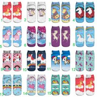 Wholesale funny unicorn socks Hot Sale d Printed adult women low cut ankle short summer autum cartoon sport socks pair