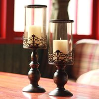 Wholesale Hot sale Fashion vintage bronze color metal iron glass pearl candle holder home table decoration candlestick