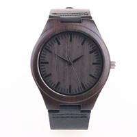 Precio de Gifts-Reloj para mujer de madera para hombre con banda de cuero Japonés Miyota 2035 Movimiento de cuarzo con esfera redonda analógica unisex 3 colores con caja de regalo