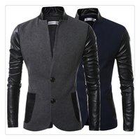 Men s woolen coat Preços-Blazer Homens Outono Inverno Moda Stand Colar Design Casacos Casuais Casacos de lã EUA TAMANHO: XS-XL