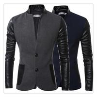 Blazer Hommes Automne Hiver Mode Collier Stand Hommes Vêtements décontractés Costumes en laine TAILLE US: XS-XL