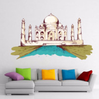 adhesive india - Aj Mahal India Illustration Travel The Word Wall Sticker Wedding Decor Vinyl Waterproof Wall Pvc Sticker Wallpaper Decal Removable