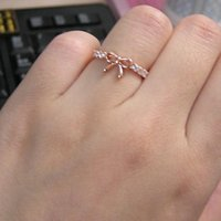Wholesale Korean Jewelry Simple Crystal Bow Ring