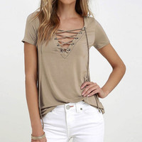 Wholesale Plus Size Summer T shirts for Women Short Sleeve Sexy Deep V Neck Bandage Shirts Women Lace Up Tops Tees T Shirt
